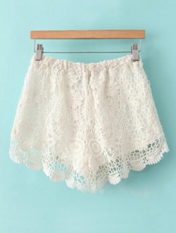 shorts lace shorts white white lace shorts tumblr shorts cute shorts