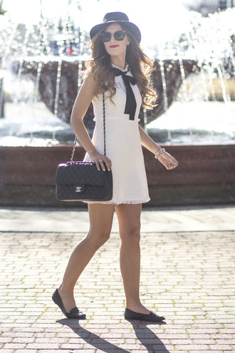 chicstreetstyle blogger dress shoes chanel bag mini dress felt hat loafers