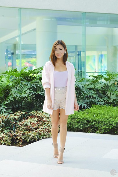 kryzuy blogger jacket tank top shorts embellished nude high heels