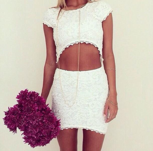 top dress white lace dress white dress two piece dress set set lace dress