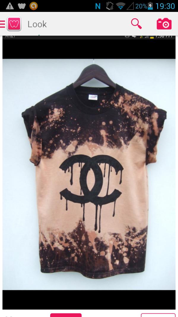 shirt tie dye chanel black gold grunge chic bleached