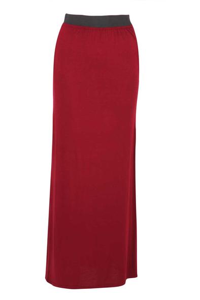Fannie Wine Maxi Jersey Skirt at Fashion Union