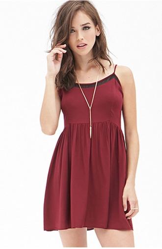 dress burgundy mesh shift cami dress