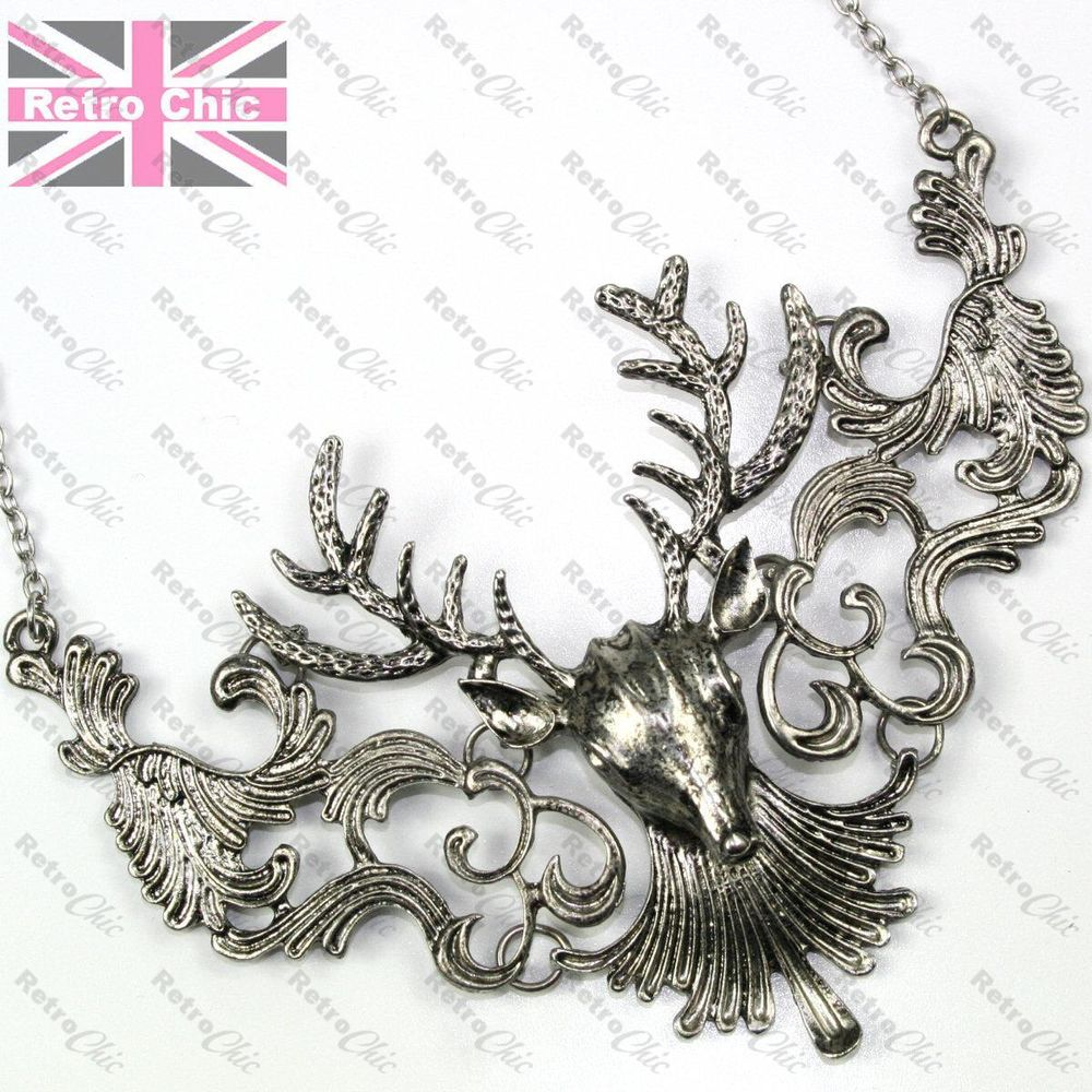 LARGE STAG NECKLACE chain BIG ANTLERS dark vintage silver/antique gold plated | eBay