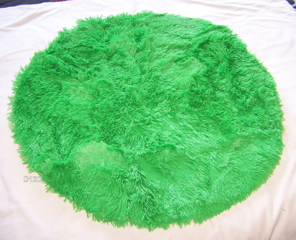 Funky Brights Shaggy Faux Fur Floor Throw Rug 80cm Round New Various Colours | eBay