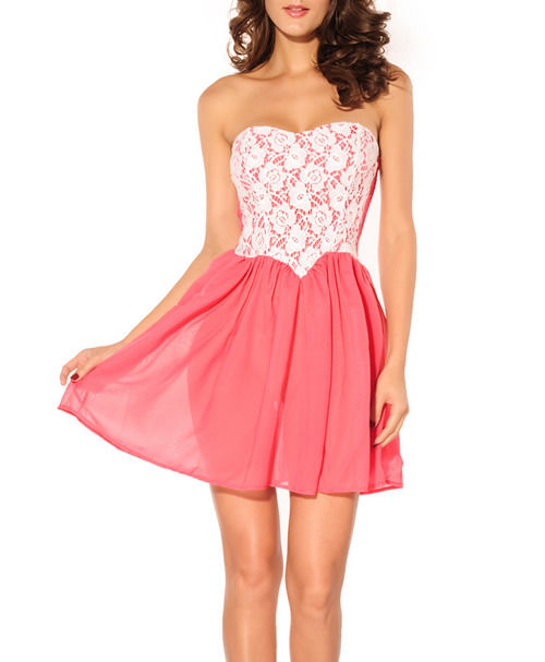 Cute Pink Strapless Dress Dipped Waist Cocktail Prom Fashion Girl Free Shipping | eBay