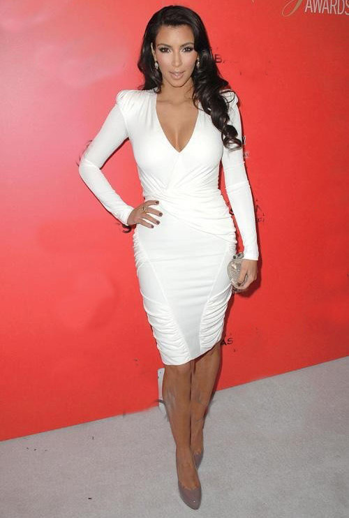 Designer Brand Hollywood Star Wear White Deep V Neck Pleated Long Sleeve Bandage Bodycon Dress-in Dresses from Apparel & Accessories on Aliexpress.com