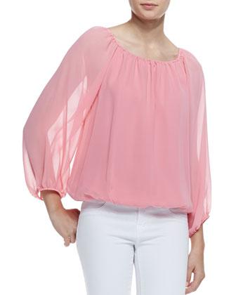 Alice   Olivia Alta Silk Top, Pink Icing