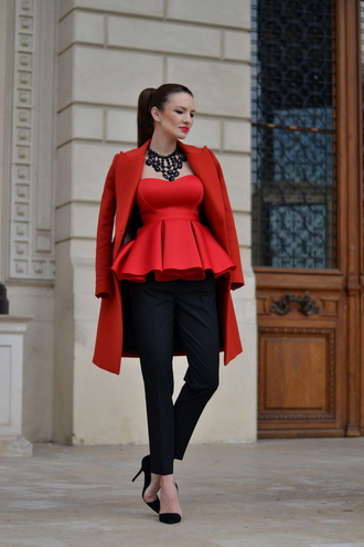 my silk fairytale blogger red coat red bustier coat pants shoes jewels