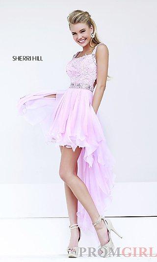 Pink High Low Dresses, High Low Prom Dress Sherri Hill- PromGirl