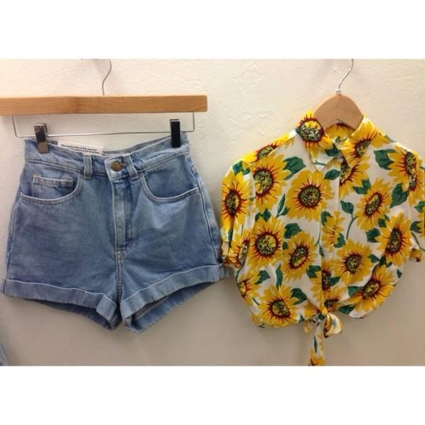 shirt yellow daisy flower shirt crop top