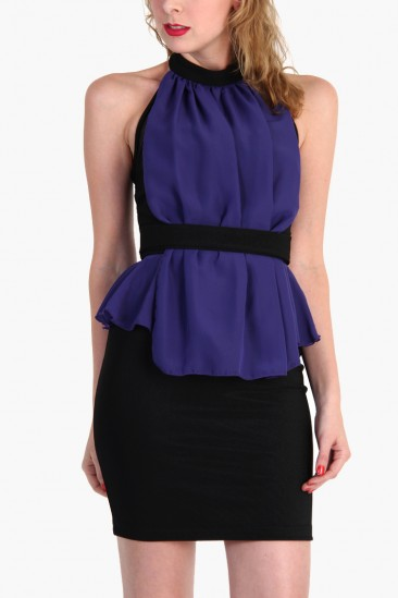 OMG Halter neck party dress with sheer belted front -purple and black- from LoveMelrose