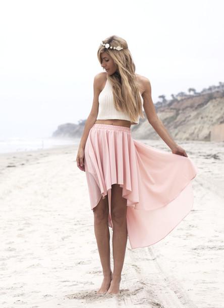 t-shirt skirt pink pretty white high low skirt pastel beach pastel pink high low skirt