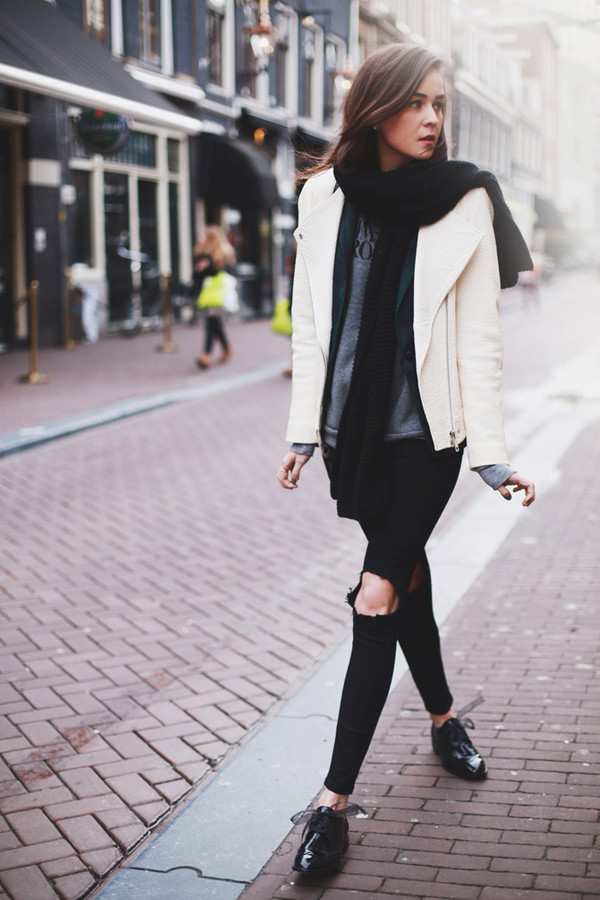 style scrapbook sweater jacket jeans shoes bag