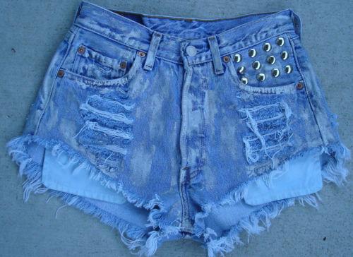 Vtg Levi's High Waisted Silver Metallic Denim Studded Shorts 26 Small Nasty Gal   eBay