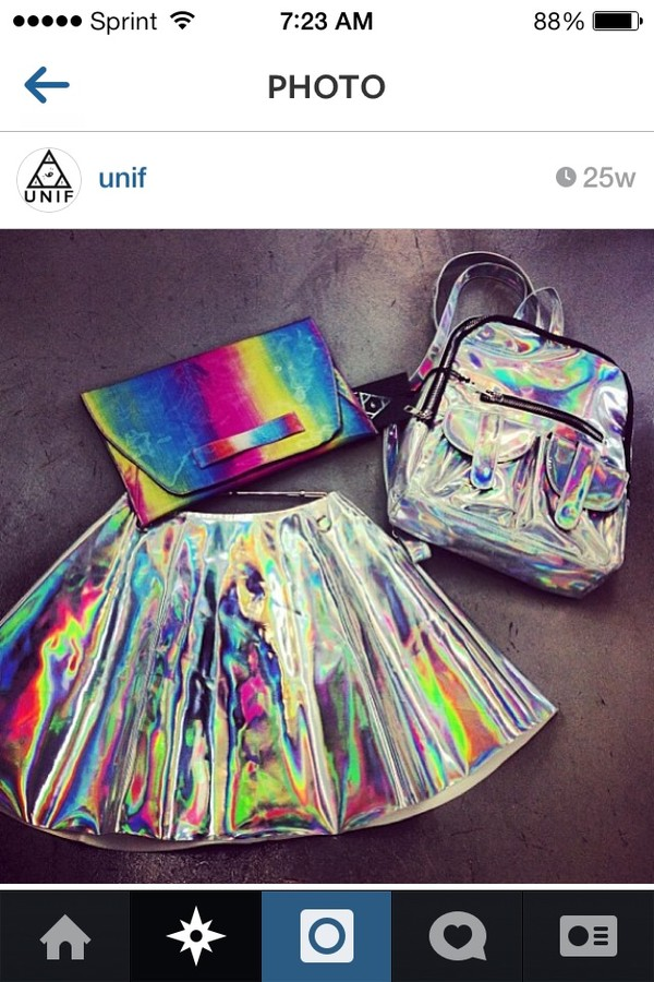 skirt holographic holographic bag unif instagram outfit