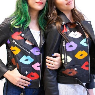 jacket motorcycle motorcycle jacket cute lips lipstick leather motorcycle jacket