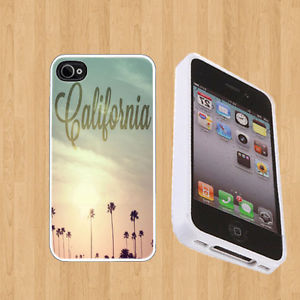 Rubber Case Palms California for Apple iPhone 4 4S Soft White Cover | eBay