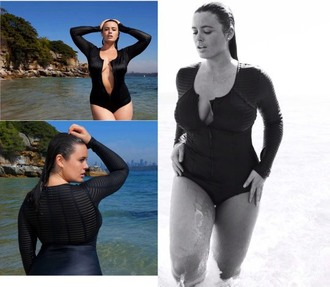 swimwear bond girl james bond robyn lawley swimwear tia provost one piece long sleeves zip plus size curvy black sheer stripes