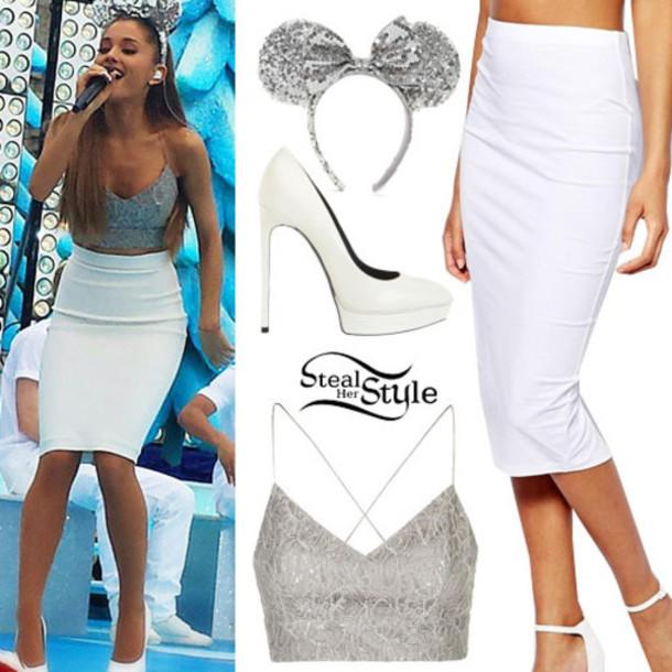 skirt ariana grande white pencil skirt tank top