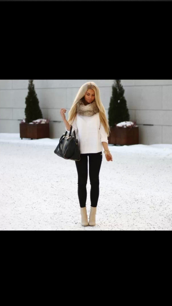 shirt shoes jeans scarf bag sweater