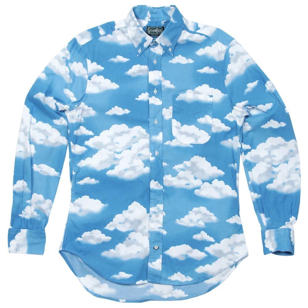 Gitman Vintage Rene Magritte Sky Print Shirt  (Blue)