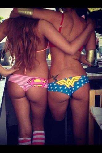 bff swimwear superman superwoman wondergirl wonderwoman bikini underwear marvel comics wonder woman justice league superheroes panties comics