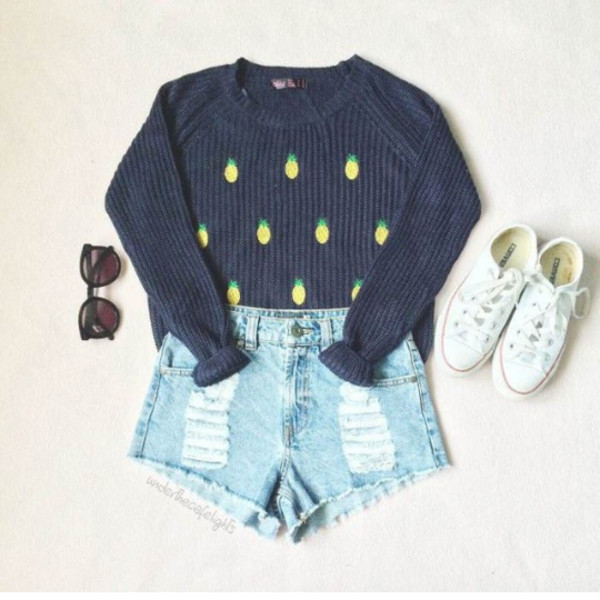 shorts grey pineapple fruits sweater winter outfits jumper navy denim converse indie navy pinapple pineapple black t-shirt coldweather long sleeves shirt grey sweater grey sweater grey converse shoes top pineapple print outfit clothes
