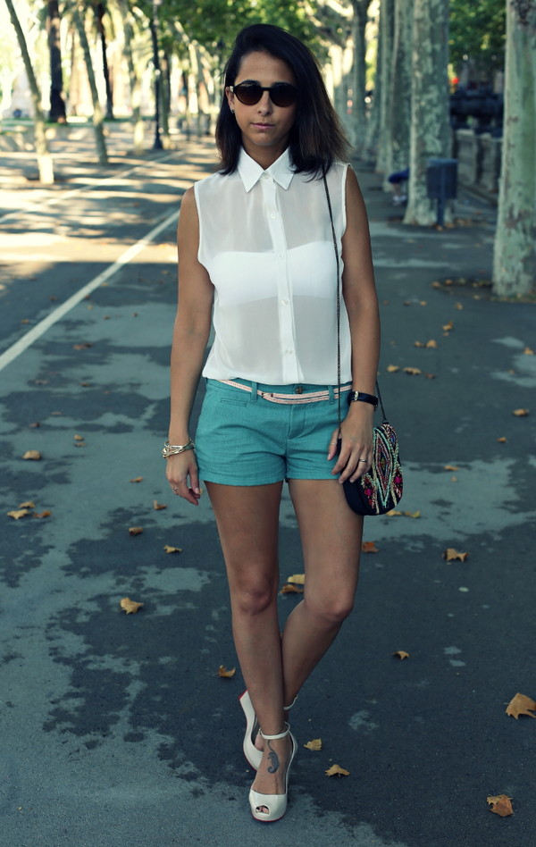 style in lima blouse shorts shoes jewels bag sunglasses