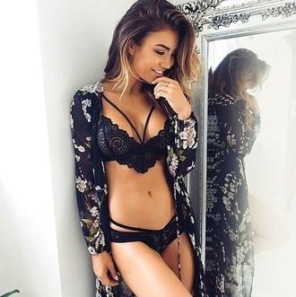 underwear girly girl lace bra bralette black lingerie lingerie set