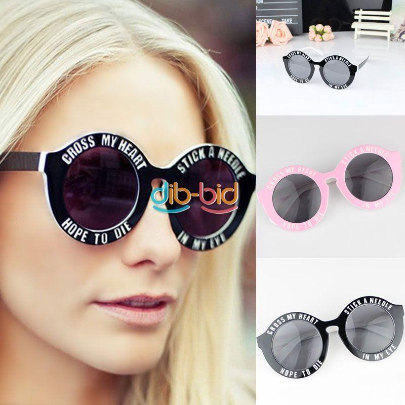 Chic Design Fashion Women Men Letter Slogan Retro Vintage Round Frame Sunglass | eBay