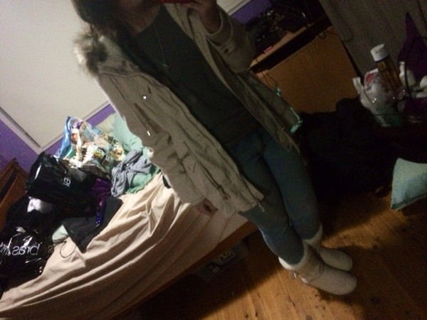 jacket winter coat stone fluffy jeans ugg boots