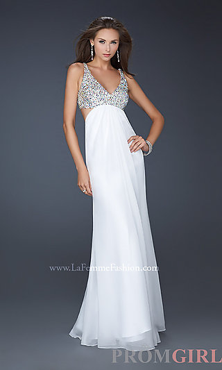 Sexy Low Cut Prom Gown, La Femme Beaded Prom Dresses- PromGirl