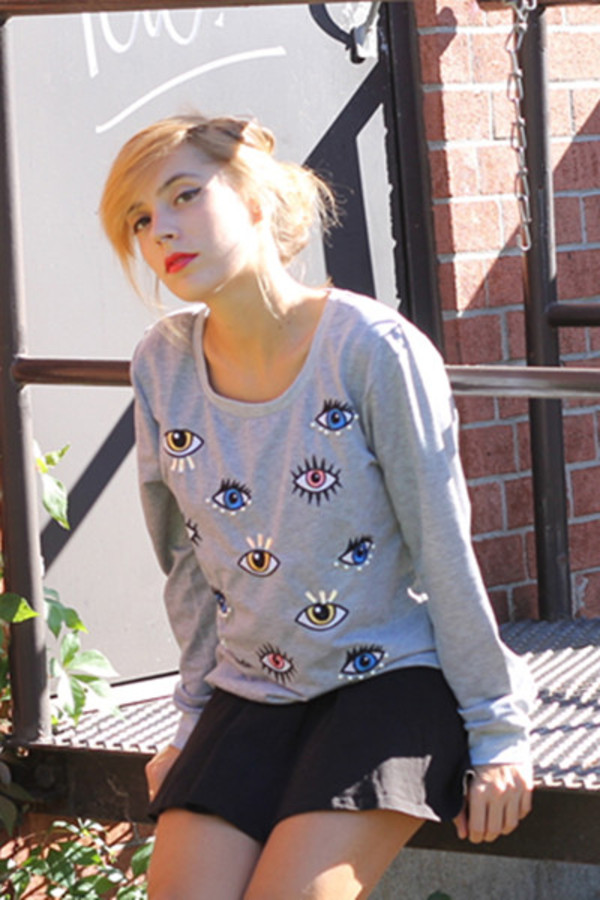 shirt eyes print sweater
