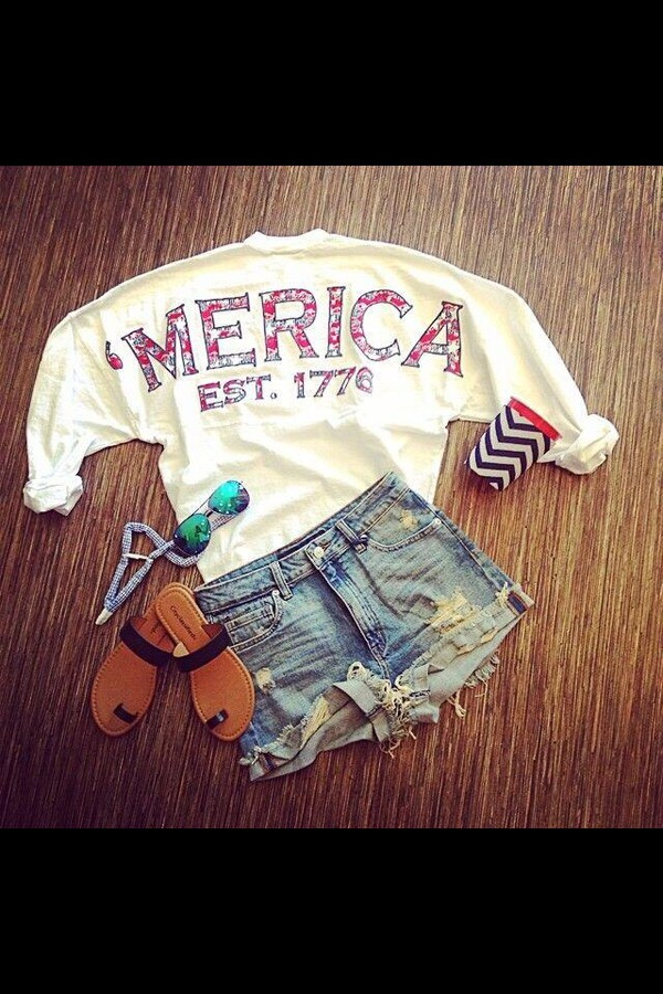 july 4th chevron summer dress summer outfits sandals style party denim shorts shorts sunglasses shoes shirt clothes american apparel outfit tumblr shirt tumblr tumblr girl