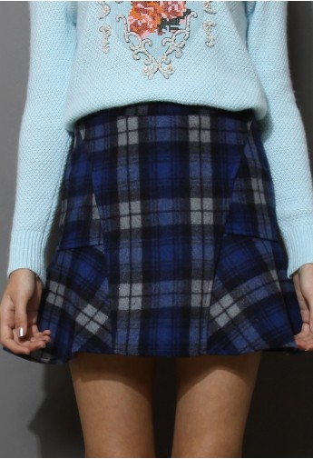 Blue Tartan Wool Felt Frill Hem Skirt - Retro, Indie and Unique Fashion
