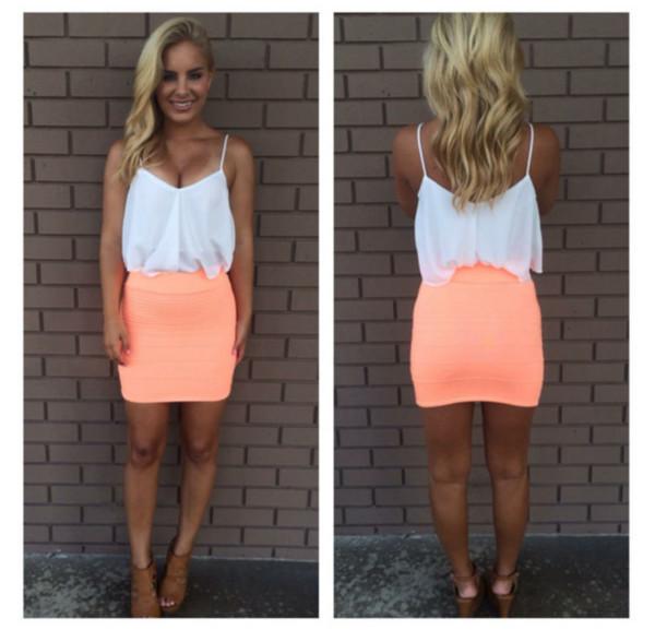 skirt blouse bandage skirt white top heels shoes high heels top