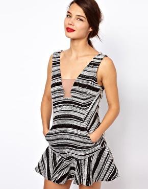 Three Floor | Three Floor Short Cut Stripe Dress With Deep V Back at ASOS