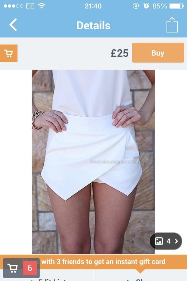 shorts skorts white skirt