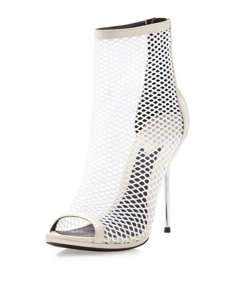 B by Brian Atwood Michelet Mesh Peep-Toe Ankle Boot, White - Neiman Marcus Last Call