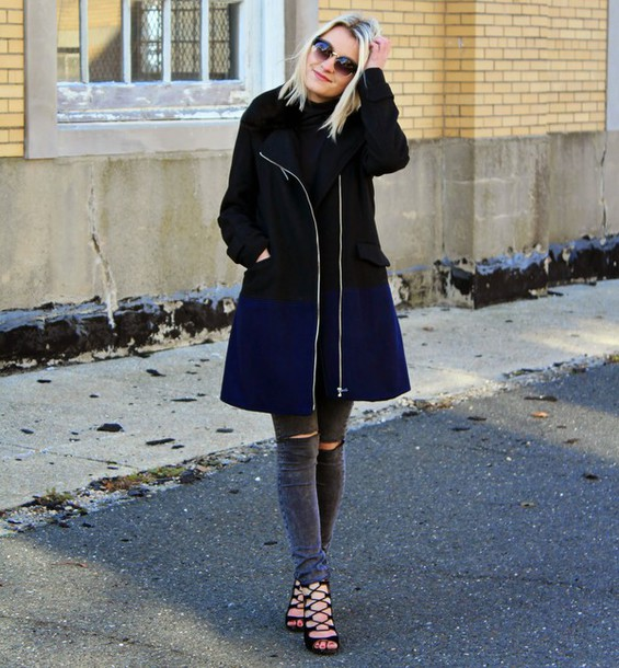 platinum and penniless blogger coat jeans shoes sunglasses