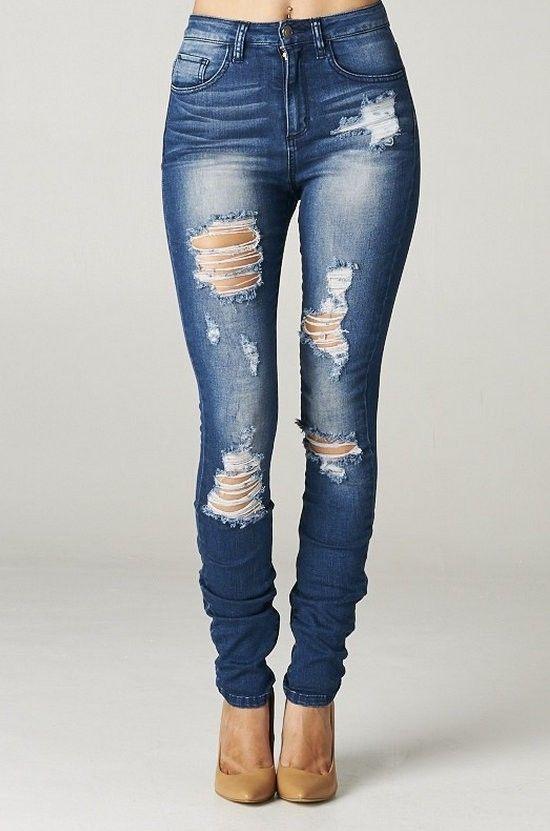 High Rise Destroyed Skinny Jeans Ripped Womens Dark Blue Denim Waist Distressed | eBay