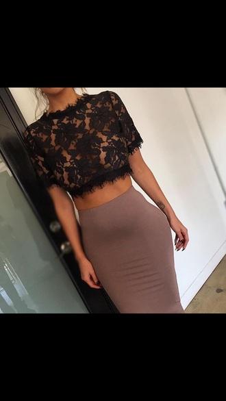 blouse shirt lace top lace crop top black lace black crop tops top lace classy dress skirt nude black lace top beige skirt nude skirt midi skirt
