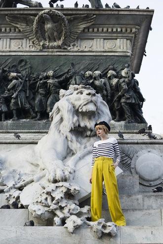 miss pandora blogger lime pants flare striped sweater wide-leg pants