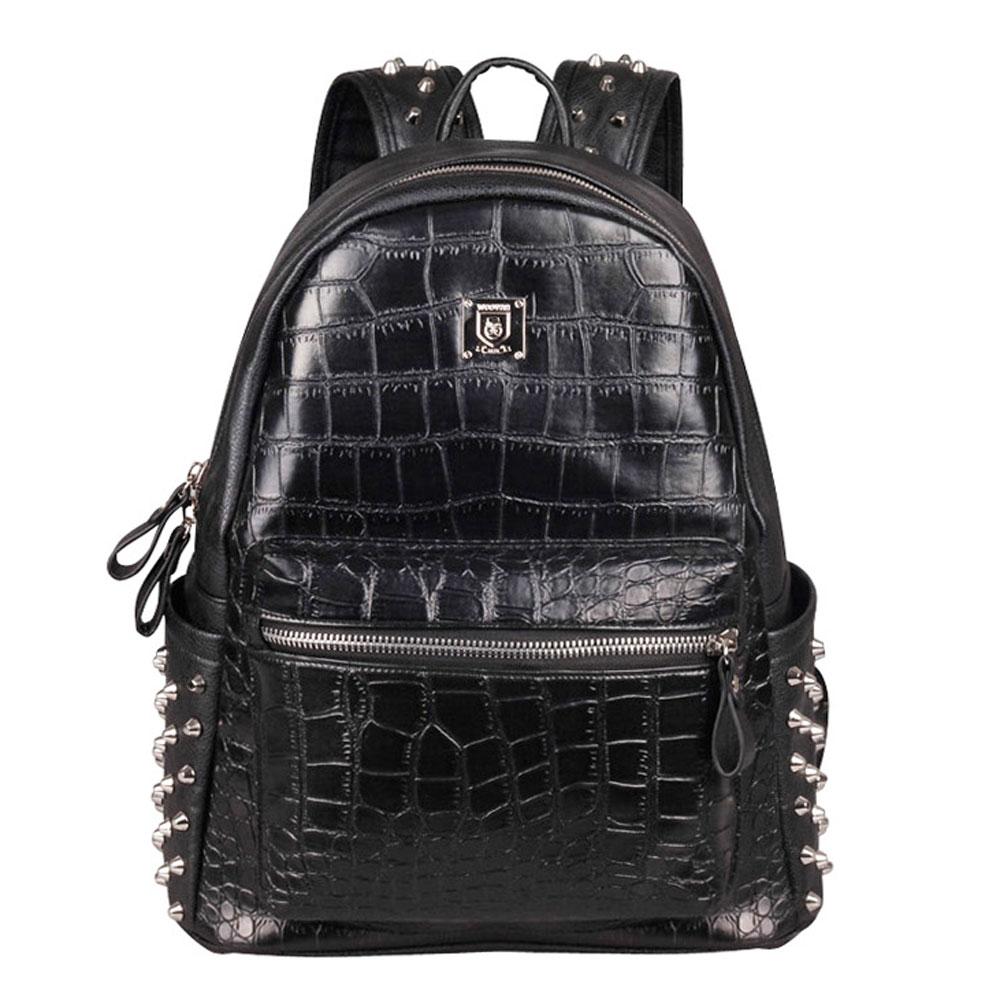 Stylish Black Alligator Crocodile Pattern Rivets Shoulder Bag Backpack [grxjy520314] on Luulla