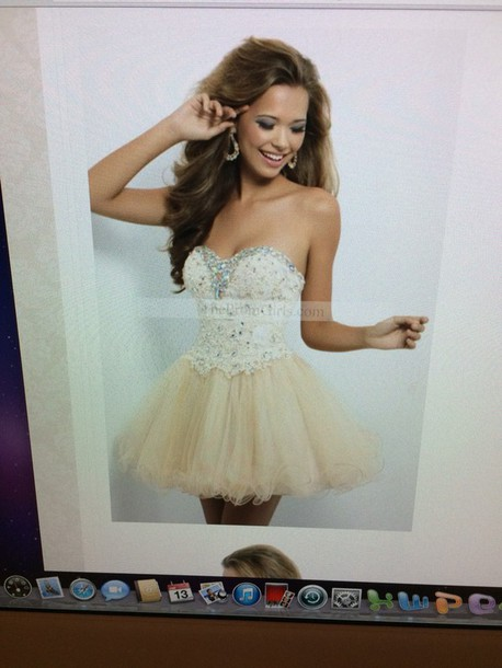 dress champagne short homecominng dress