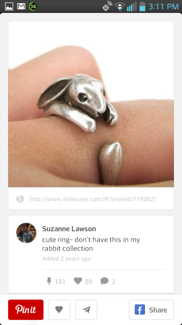 jewels ring bunny silver