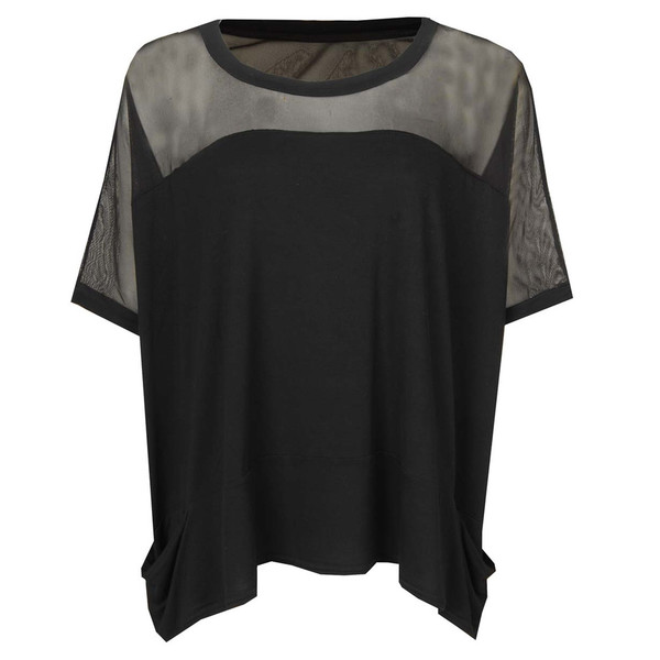 top a postcard from brighton womens black chiffon detail jersey top