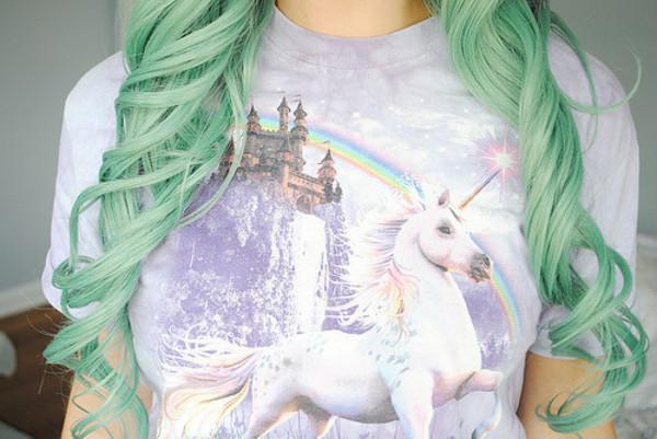 t-shirt unicorn purple blouse unicorn shirt turquoise pastel curly hair