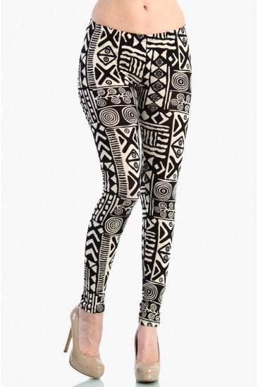 LoveMelrose.com From Harry & Molly | Aztec Leggings - Black / White